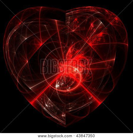 Red glass heart with rays and swirls