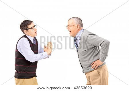 Mature man shouting at a man who is begging isolated on white background