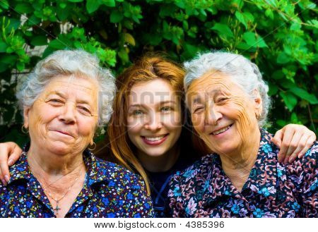 Young Woman And Two Senior Ladies