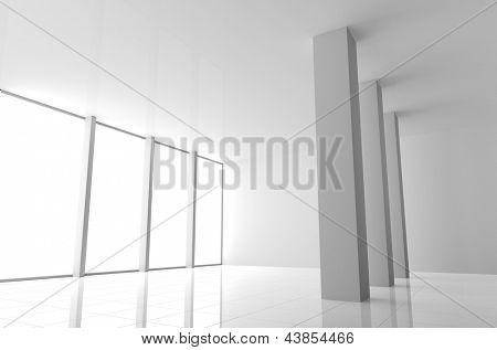 Vacío Interior blanco moderno con grandes ventanas y columnas