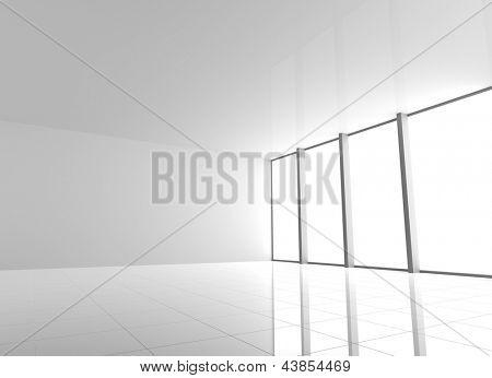 Vacío Interior blanco moderno con grandes ventanales