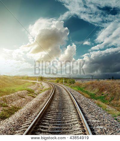 railway to horizon in sunset
