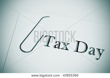 sentence tax day written in the cover of a dossier