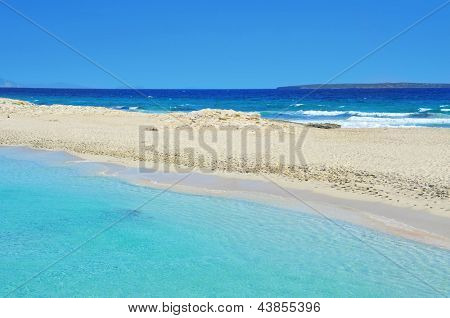 view of Ses Illetes Beach in Formentera, Balearic Islands, Spain