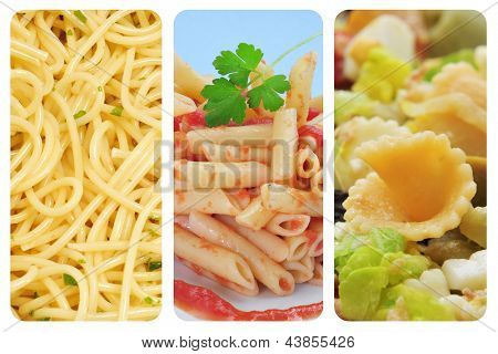 a collage of three pictures of different pasta dishes