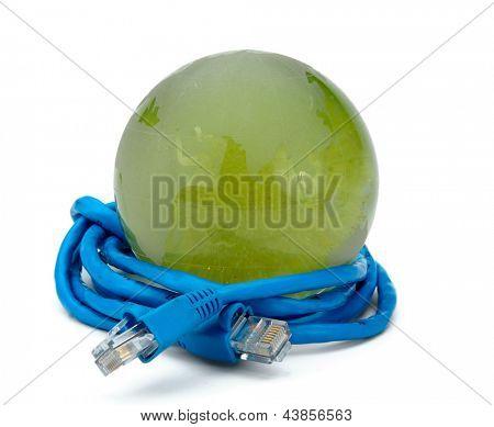 USB cable around globe on white background