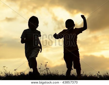 Active two kids spending happy time on summer nature