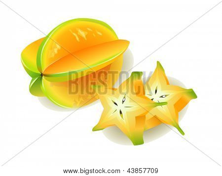 Carambola or Starfruit, slices of fresh Star Fruit