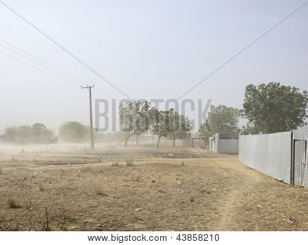 Dust storm blowing through Bor, South Sudan