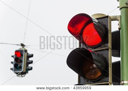 a traffic light with red light. symbolic photo for maintenance, economy, failure