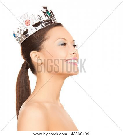 bright picture of beautiful woman with the crown