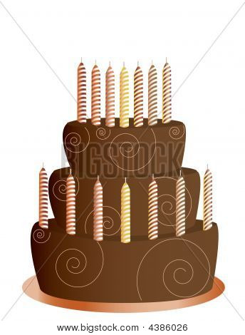 Chocolate Birthday Cake Isolated
