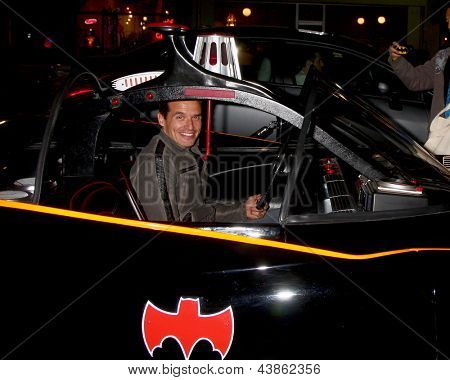 LOS ANGELES - MAR 21:  Antonio Sabato Jr. in the Batmobile at the Batman Product Line Launch at the Meltdown Comics on March 21, 2013 in Los Angeles, CA