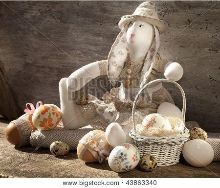 Frohe Ostern - Baby Hasen und Ostereier