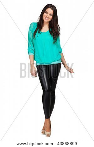 Elegant glamour woman wearing blue blouse and leggins