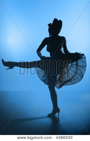 Young Girl Burlesque Dancer Silhouette