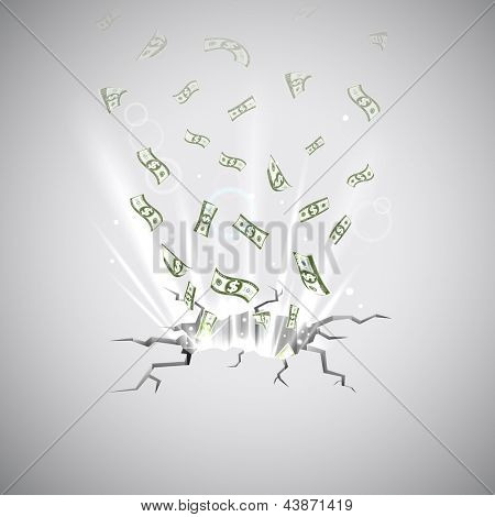 illustration of Dollar note coming out of cracked surface