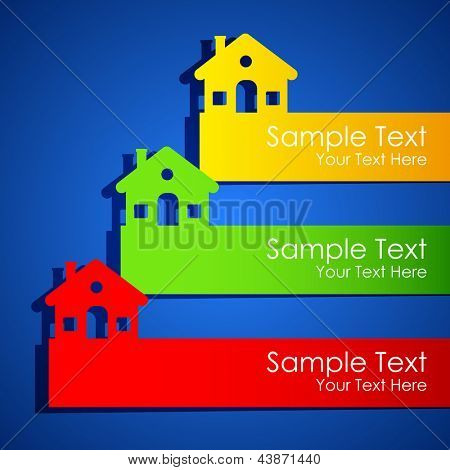 illustration of paper cut house for real estate exhibition poster