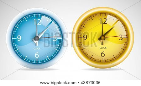 Two bright vector clock faces yellow and blue.
