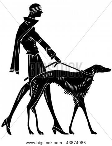 Art Deco Woman With Dog - Retro Clip Art Illustration