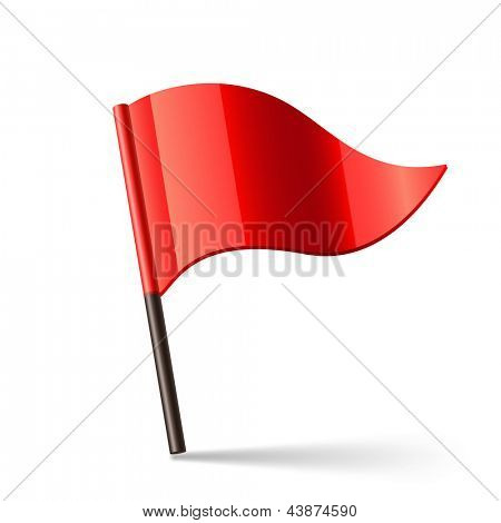 Vector illustration of red triangular flag