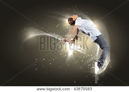 Modern style dancer posing against dark background with light effects. Illustration