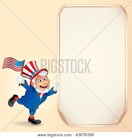 Cartoon Uncle Sam with USA Flag. Vector Background for Fourth of July Celebration.