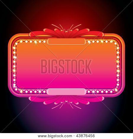 Illustration of Pink Retro Marquee. Illuminated Vector Sign or Billboard.
