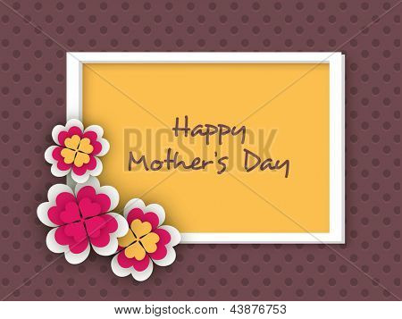Floral decorated background, flyer or banner for Happy Mothers Day celebration.