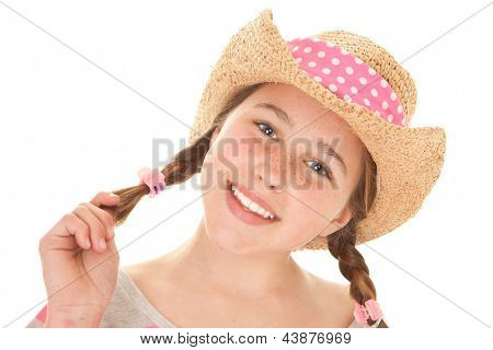 smiling summer girl with perfect straight white teeth