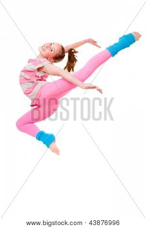 happy child or girl doing ballet jump