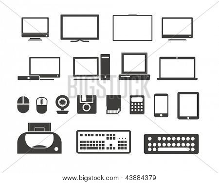 Electronic equipment icons collection. Isolated on white