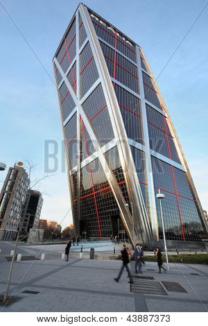 MADRID - MARCH 8: One building of Gate to Europe on March 8, 2012 in Madrid, Spain. 25-storey building was built in 1996.