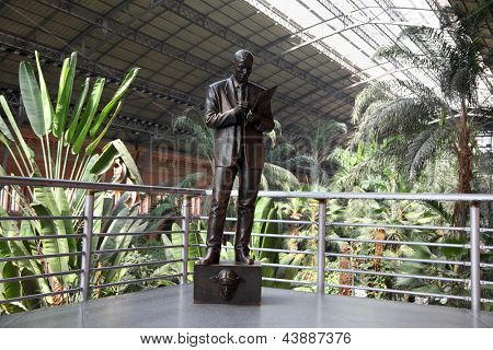 MADRID - MARCH 8: Monument to commercial agent Atocha railway station on March 8, 2012 in Madrid, Spain. Sculptor Francisco Lopez Hernandez. Opened in 1998.