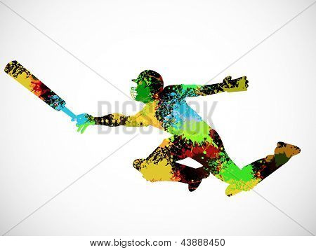 Colorful silhouette of cricket batsman in playing motion on grey background.