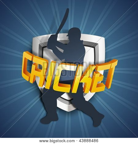 Silhouette of a cricket batsman with winning shields and text cricket on rays background.