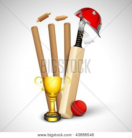 Cricket sports concept with wicket stumps, helmet, ball and trophy on grey background.