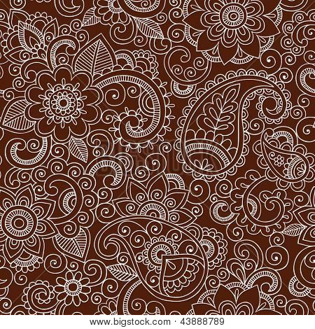 Henna Mehndi Tattoo Doodles Seamless Pattern- Paisley Flowers Illustration Design Elements on Dark Brown Background