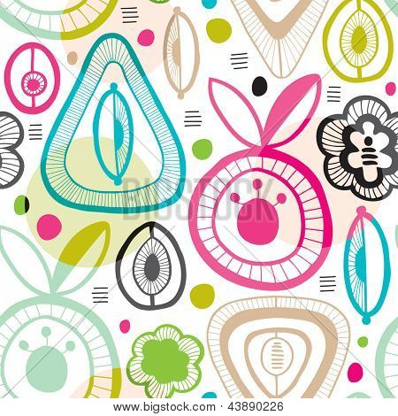 seamless colorful retro organic shape background pattern in vector