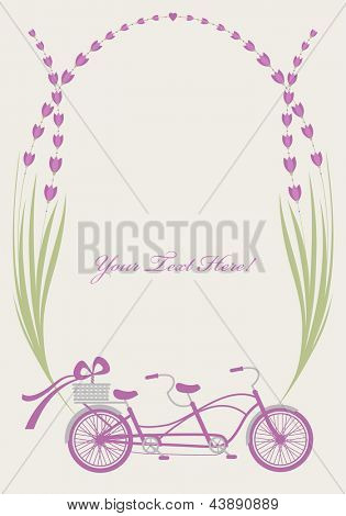 lovely vintage card with bicycle and lavender frame
