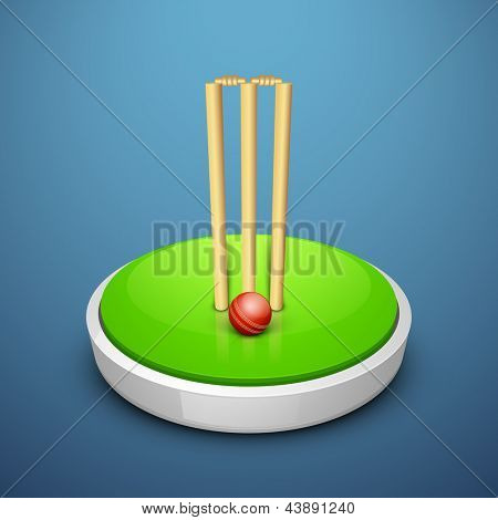 Cricket ball and wicket stumps with stage of field on blue background.