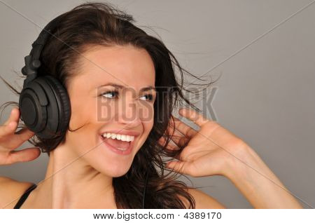 Beautiful Woman With Headphones