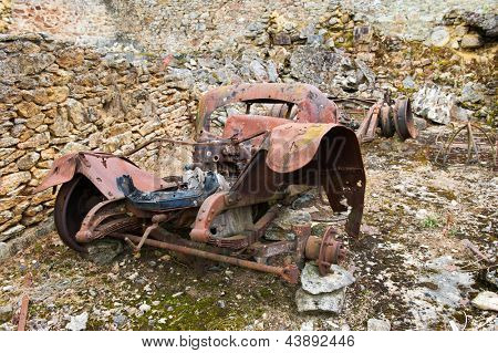 leaved car in Destroyed Oradour sur Glane in the French Limousin