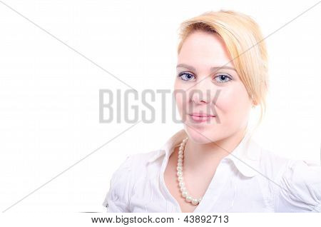 Successful Young Beautiful Woman Looking Serious With Copy Space