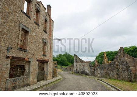 Destroyed Oradour sur Glane in the French Limousin