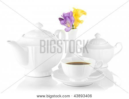 Beautiful tea service, isolated on white