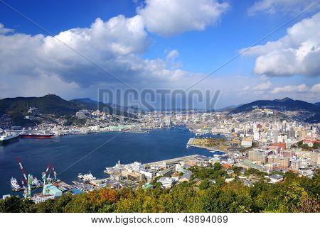 View of Nagasaki Bay, Japan.