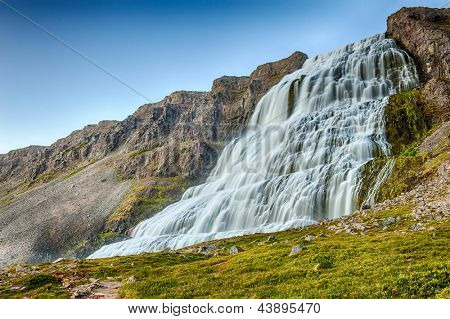 Dynjandi is the most famous waterfall of the West Fjords and one of the most beautiful waterfalls in the Iceland.