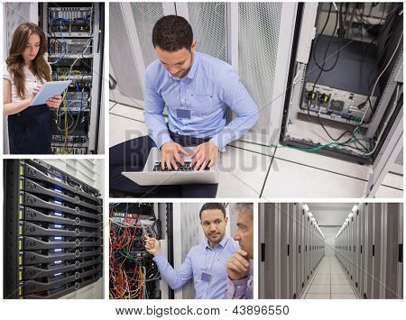 Collage of data center workers at work together and alone