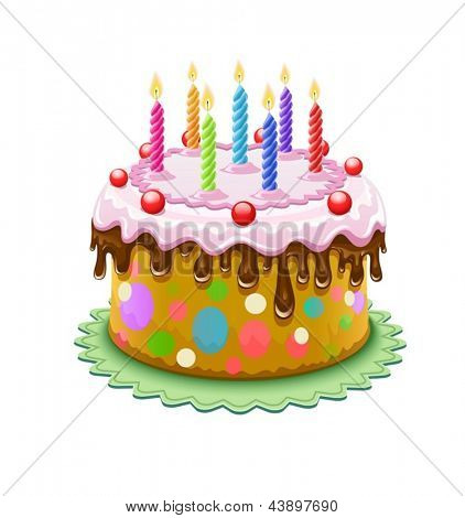 Birthday cake with chocolate creme and burning candles isolated on white background - eps10 vector illustration. Vector Illustration.